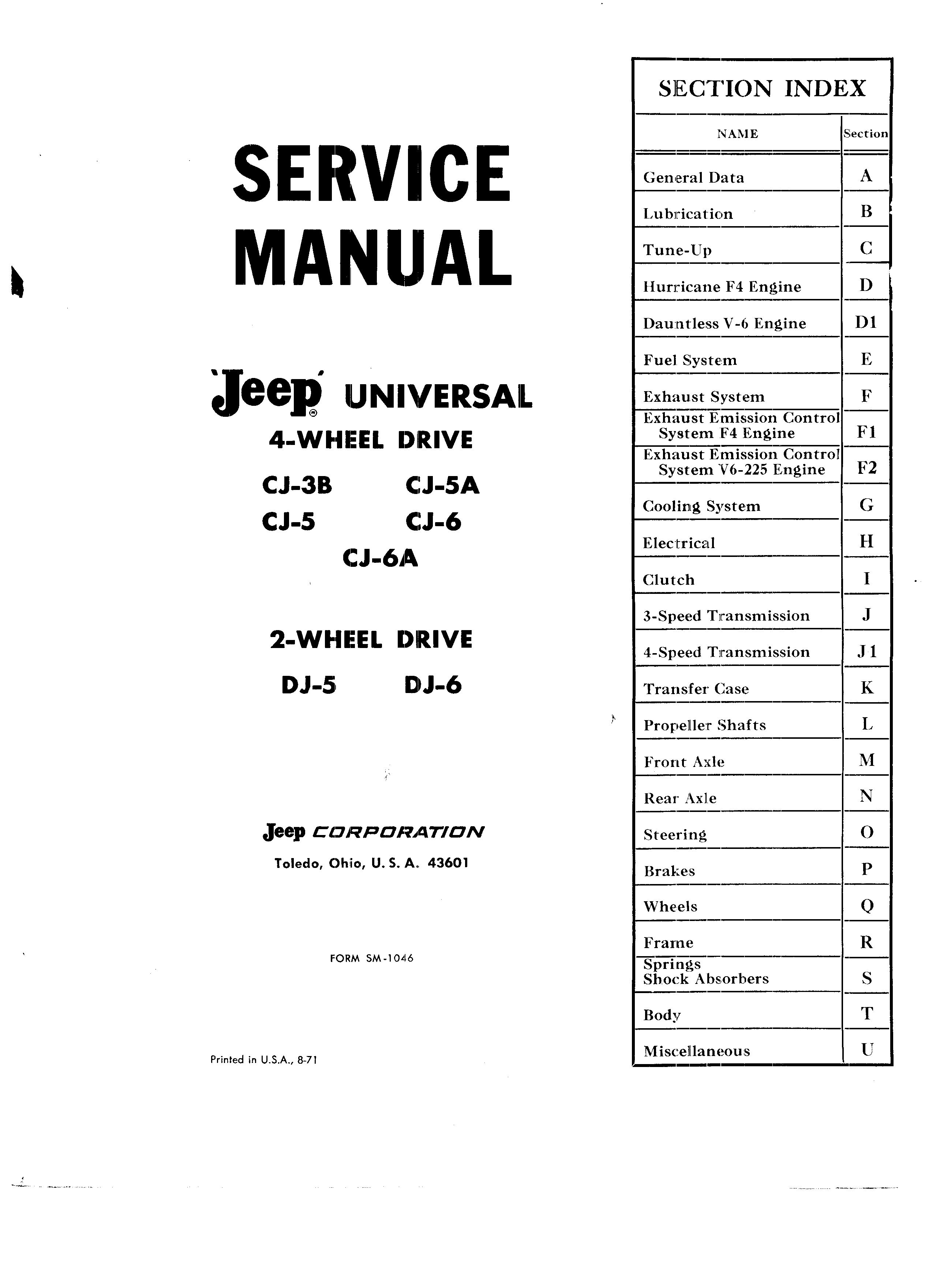 Service Manual SM-1046 August 1971
